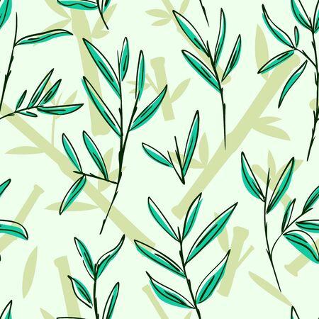 Seamless Bamboo Leaves Pattern, Vector Illustration EPS 10.