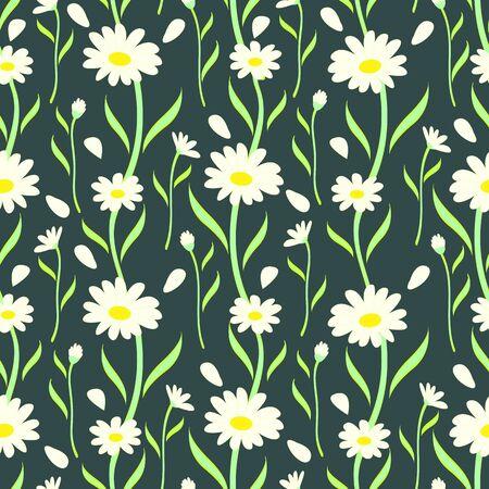 Seamless Daisy Flowers Pattern Vector Illustration EPS 10 Stock Illustratie