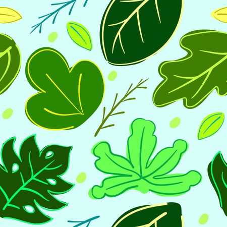 Seamless Colorful Leafs Pattern Vector Illustration EPS 10