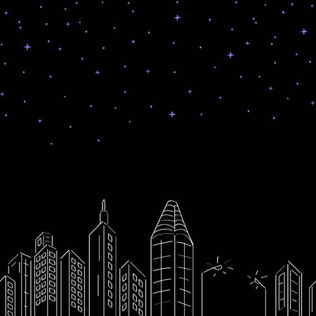 Seamless City Buildings At Night And Stars Pattern Vector Illustration EPS 10  イラスト・ベクター素材