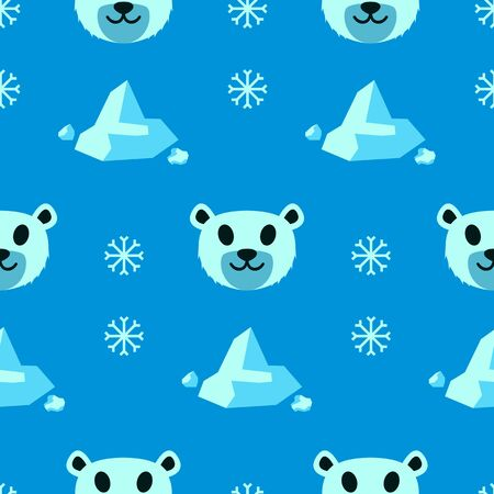 Seamless Cute White Bear Animal Pattern, Vector Illustration EPS 10.