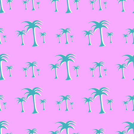 Seamless Tropical Coconut Tree Floral Pattern.  イラスト・ベクター素材