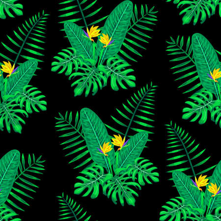 Seamless Monstera, Palm and Bird of Paradise Flowers Pattern Vector Illustration EPS 10.