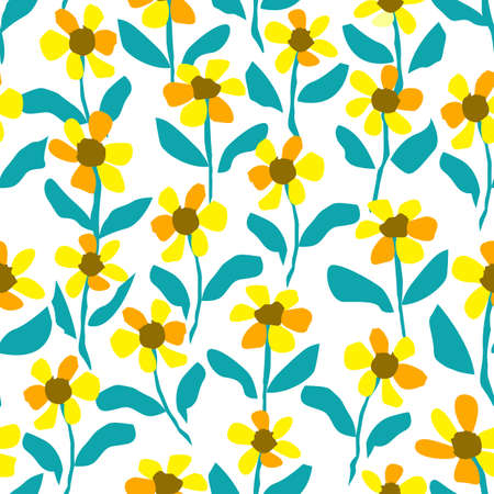 Seamless Yellow Flower Pattern, Floral Prairie Pattern