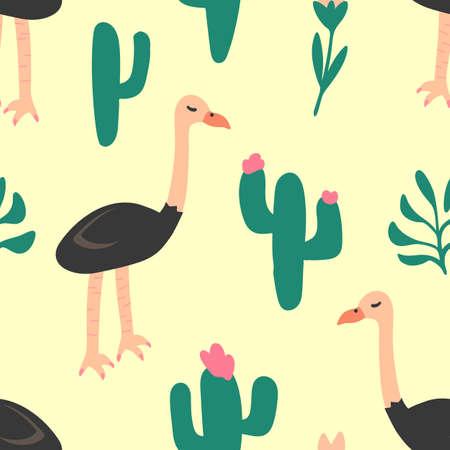 Ostrich Bird Pattern, Seamless Pattern, Vector Illustration EPS 10.