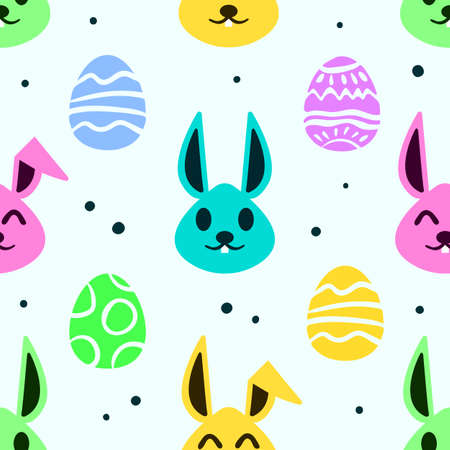 Seamless Happy Easter Day Theme Pattern, Colorful Cute Bunnies and Easter Egg.