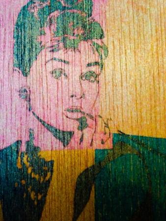 colour: Audrey Hepburn image printed on wood  Stock Photo