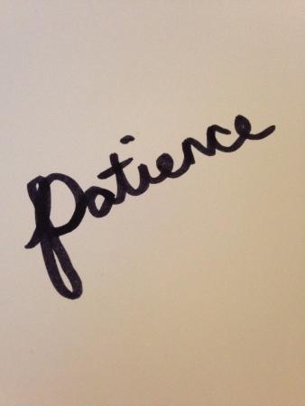 인내: Patience on white background