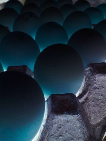 glow: Blue eggs lined up pattern