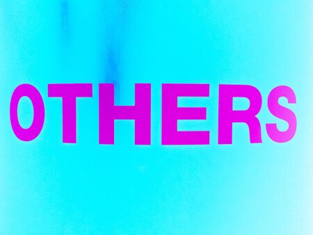 others: Others word in pink on blue background