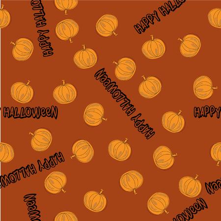 happy halloween: Happy Halloween Pumpkin Seamless Illustration