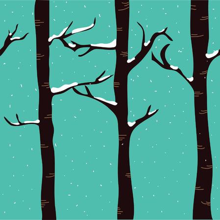 snowfall: Snowfall on birch trees
