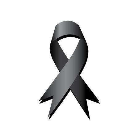 Black ribbon vector, mourning and melanoma sign
