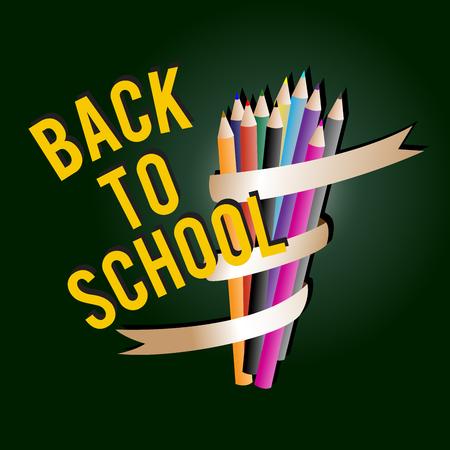 crayon  scissors: Welcome back to school, vector illustration. Illustration