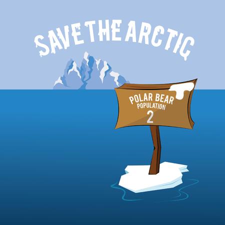 Sla de Arctic Polar Bear Bevolking in Danger Vector Illustratie