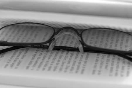 Glasses on the page Stock Photo