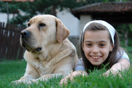 Girl and dog                               Stock Photo - 1431227