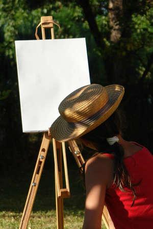 Painter girl Stock Photo