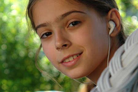 The girl listen music