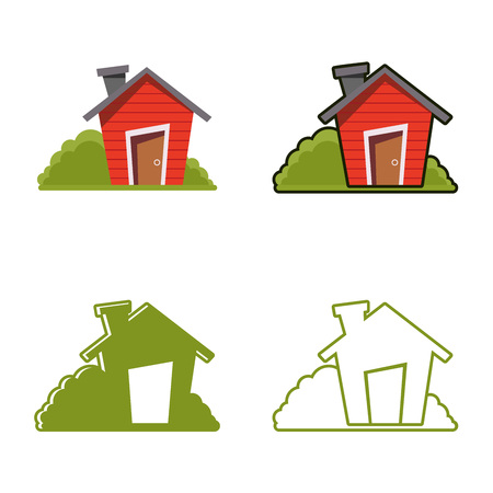 Cartoon home countryside with chimneys and green lawns