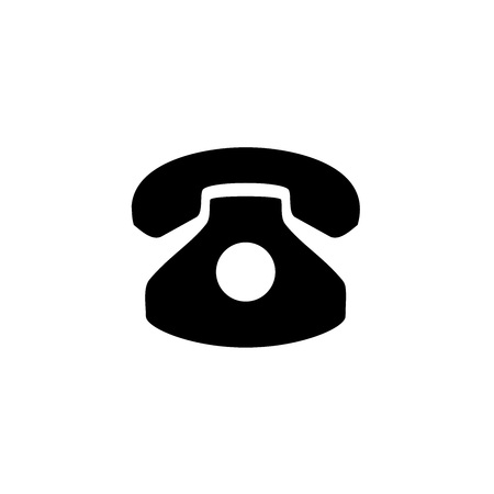 the basic logo form of a vintage telephone receiver with a cable and hanger receiver