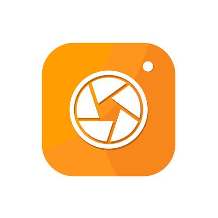 Flaches minimalistisches Kamera-App-Symbol im abgerundeten quadratischen nahtlosen Hintergrund mit Farbverlauf