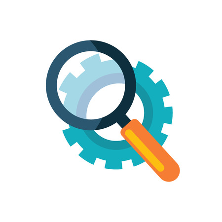 Vector icon of a magnifying glass that is looking over the gear Stock Illustratie