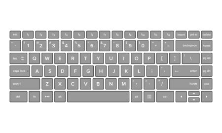 Vector illustration of keyboard view. Suitable for basic elements of computer text input devices, smartphones and digital technology. Qwerty keyboard layout.