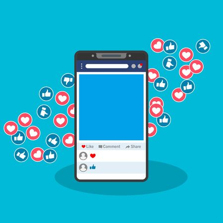 Vector illustration of a smartphone accessing social media. Suitable for marketing social media pages, promoting business through online social networks, liking someone's posts. Like and heart icons.