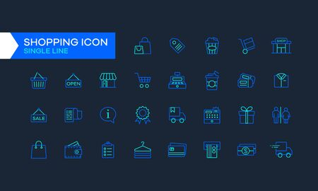 Flat and simple line icons of shopping like shopping bag, gift box, credit card and clothes. Line icons from shopping activities in two different colors. Mall and shop graphic resources element. Illustration