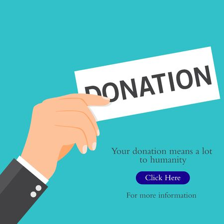 Vector illustration of a businessman holding a donation card. Suitable for charity campaigns, social donations, and caring to help in humanity. Illustration of a charity donation activity.