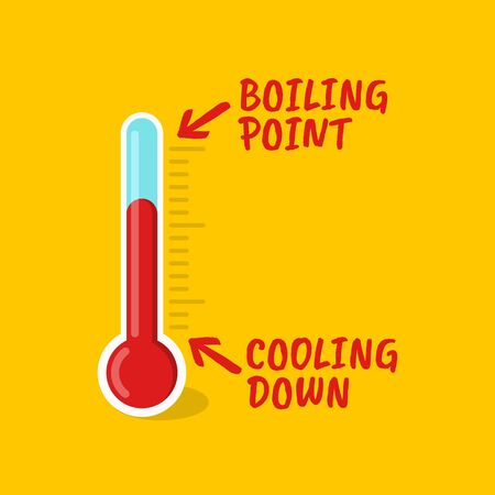 Vector illustration of a thermometer showing a boiling point. Suitable for indicator of the state of tension, health, and emotional atmosphere. Thermometer icon for measuring temperature and anger Illustration