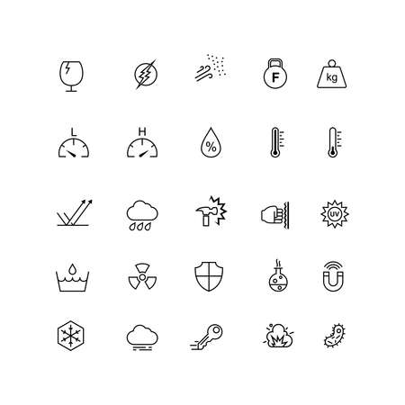 A set of icons for the resistance of a material, such as heat resistance, impact resistance, water proof. Suitable for design elements from information of a product, promotion, and material design. Ilustración de vector