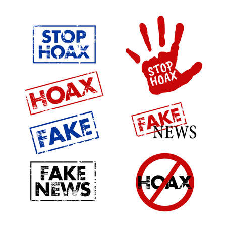Vector illustration of the HOAX news stamp. Perfect for design elements of fake news and HOAX news campaigns. Grunge stamp template prohibiting the spread of fake news.