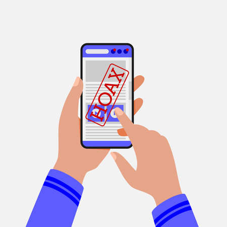 Vector illustration of a smartphone user accessing hoax news. Suitable for campaigns to stop fake news shared through social media and the internet. Flat vector illustration of hoax news.