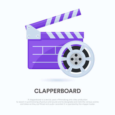 vector illustrations of film clapboards. Suitable for design elements from the filmmaking process, cinema promotion, new movies premier and video directing. Opened film clap with film roll. Ilustración de vector