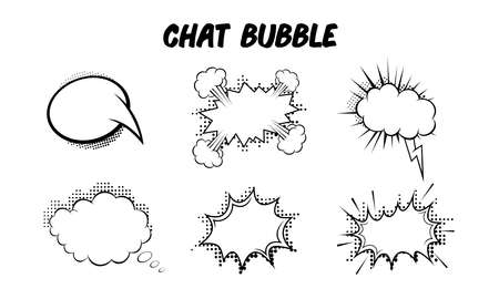Collection of vector illustrations of speech balloons. Perfect for design elements from comics, story books, and cartoon stories. Pop art style chat bubble blank template.