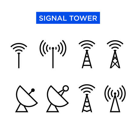 Icon set of signal tower. Suitable for design elements of telecom companies, telephony transmitting equipment, and cellular signal device. Radio antenna transmitter icon set.