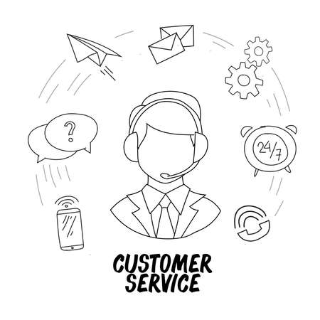Hand drawn vector illustration of a call center service. Suitable for design elements from customer complaints, advanced information, and corporate information centers.