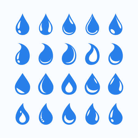 Simple iconic shapes of oil petroleum droplets that are processed for fuel and energy sources. Collection of liquid drop icon shapes. The basic elements of a droplet  .