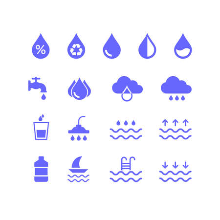 Collection of icons related to water resources. Suitable for design elements from infographics, drinking water, rainfall, humidity, and the renewable clean water industry. Flat droplet icon set. Векторная Иллюстрация