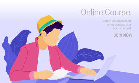 Flat vector illustration of a laptop user accessing online education while reading book. Suitable for the background of the online course web page. Work from home illustration.