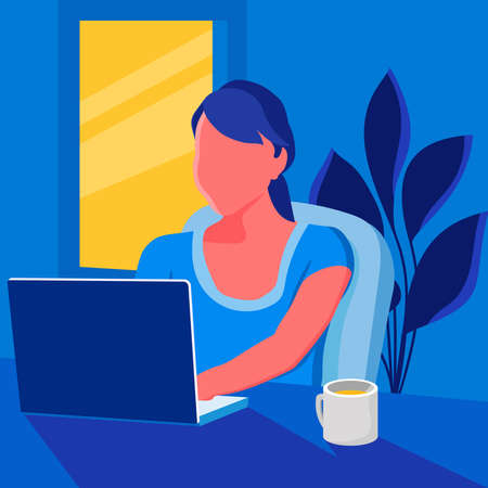 Flat vector illustration of a woman accessing an educational site using a laptop. Perfect for design elements from online course activities, working from home, and freelance activities.