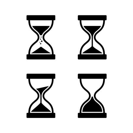 Running hourglass icon set with several variations. Suitable for time marker elements and deadline information. Vintage hourglass icon. Векторная Иллюстрация
