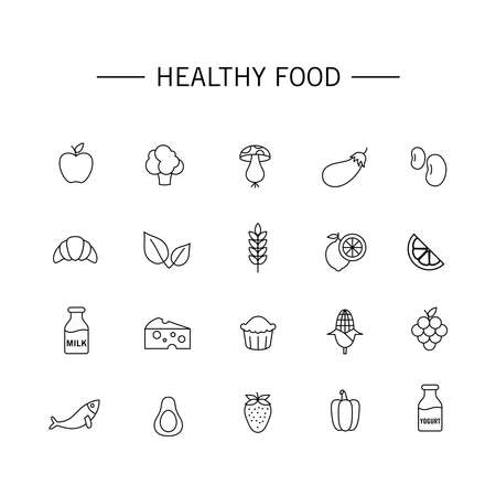 Set of vector illustrations of healthy food icons. Suitable for design elements of healthy food consumption campaigns for nutritional balance and endurance. Organic food outlined icon collection. Ilustracja