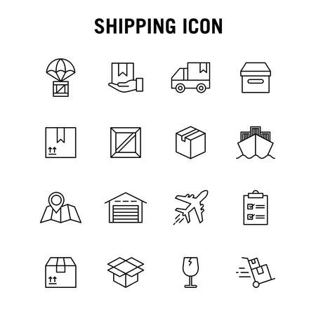Set of line icons for freight forwarding services. Suitable for design elements of online trading applications, goods service delivery, shipping and cargo. Courier logistic outlined icon collection.