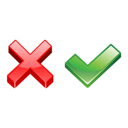 Vector illustration of a check mark and a cross. Perfect for the design element of the tips, do and don't do, a choice or suggestion. Shiny check mark and cross mark icon.