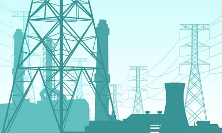 Vector illustration of a power plant site. Suitable for design elements from power companies, large power grids, and energy supply backgrounds. Silhouette of high voltage tower, nuclear power plant.