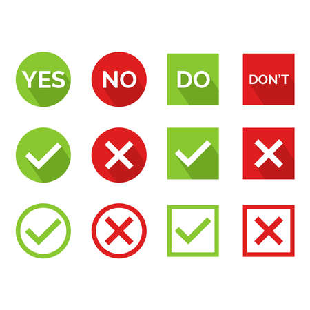 Flat vector illustration of a yes or no icon. Perfect for design element from tips and tricks article, infographic, tutorial, pros and cons and choosing guide. Cross and check icon set.