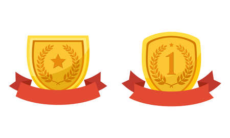 Flat vector illustration of golden shield with red ribbon. Perfect for element design of award prize, achievement label, and best quality symbol.